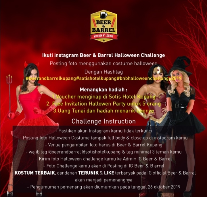 Halloween Challenges ~ Beer and Barrel Sotis Hotel Kupang