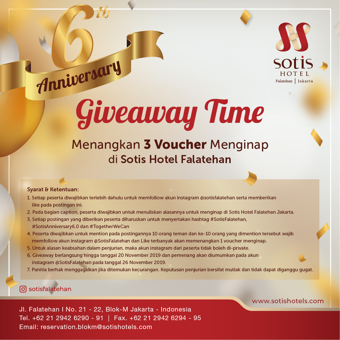 GIVEAWAY VOUCHER - 6TH ANNIVERSARY OF SOTIS HOTEL FALATEHAN JAKARTA